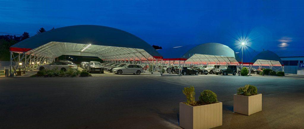 covered parking for car dealership