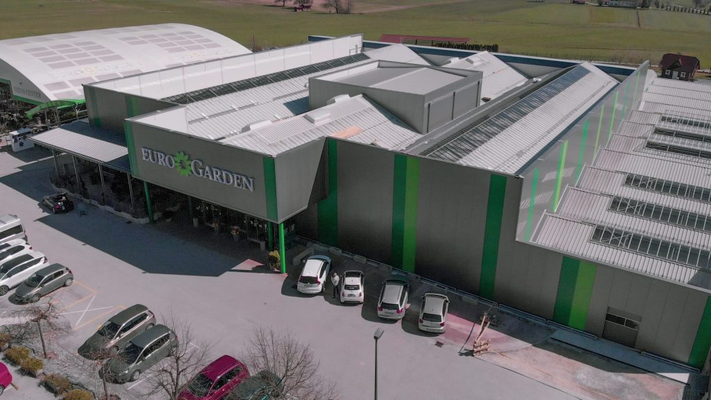 Eurogarden Garden centre in 2020 after completed energy rehabilitation and renovation