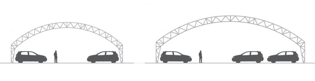 Parkplatzuberdachung für Autohandler Konstruktion