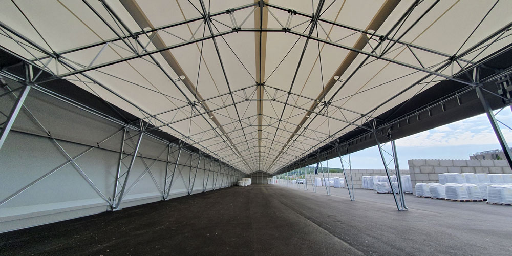 Fabric structure warehouse