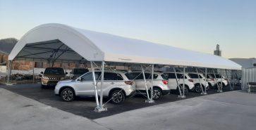 Parkplatzüberdachung Autohändler Jordan