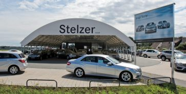 Parkplatzüberdachung Autohändler Stelzer