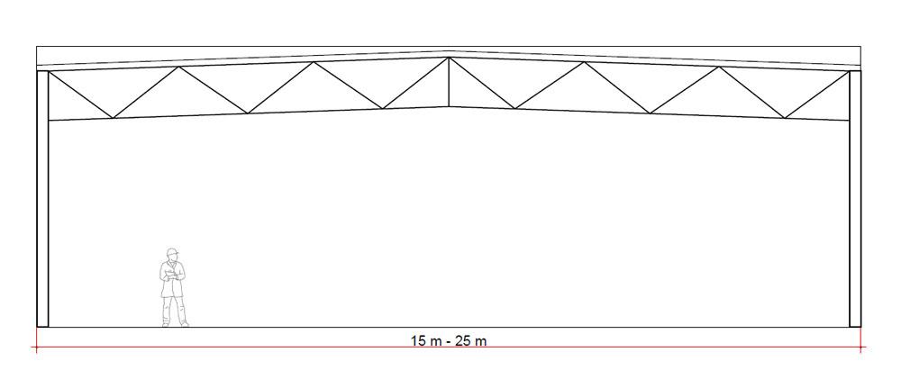 Schwarzmann X šotorska hala skica 15 - 15 m